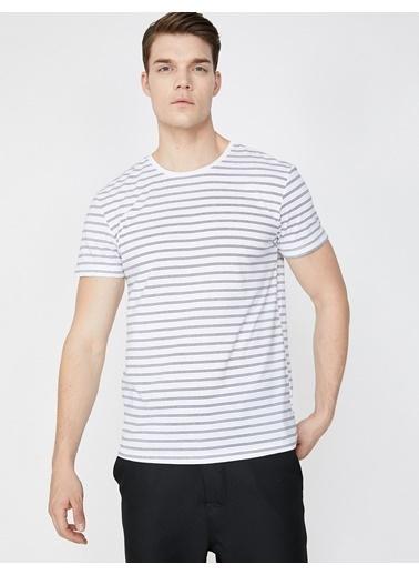 Koton Çizgili T-Shirt Beyaz